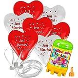 "50x Herzballons ""Just Married"" rot/weiß Ø30cm + Helium Ballongas + PORTOFREI + 50x Ballonflugkarten. High Quality Premium Ballons vom Luftballonprofi & deutschen Heliumballon Experten"