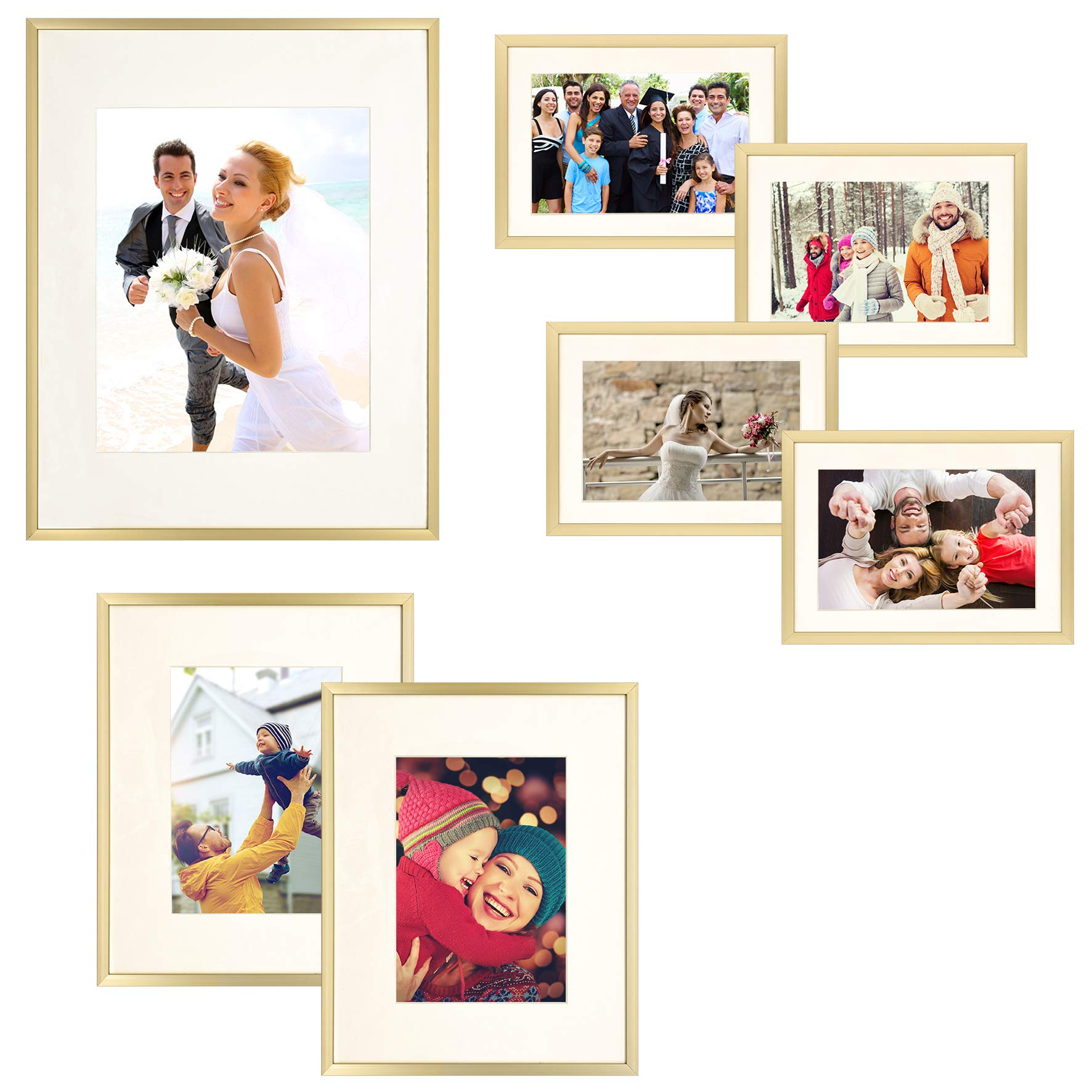 Frametory 7 Piece Gold Aluminum Wall Frame with Ivory Color Mat Set - Four 5x7 - Two 8x10 - One 11x14 - Real Glass - Swivel Tabs - Sawtooth Hangers (Gold) by Frametory