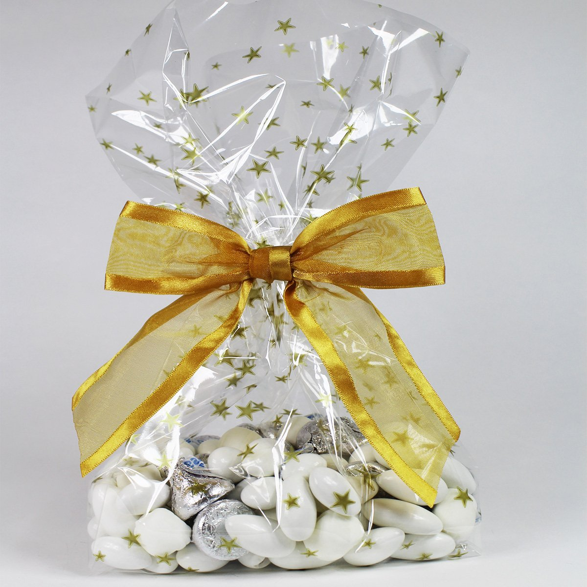 Gold Stars Cellophane Treat/Party Favor Bags with Twist-Tie Organza Bow. Set of 10 Ready-to-Use, Gusseted 11x5x3 Goodie Bags with Bow. Gold/Clear