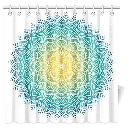 INTERESTPRINT Mandala Shower Curtain Aquatic Color Pattern With Sun In Center Indian Art Meditation