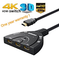 HDMI Switch,HDMI Pigtail Switch Splitter 3 in 1 out with High Speed Pigtail Cable 3 Ports Auto Switcher Hub to Expand Your HDMI Capacity,Supports 3D 4K HD Audio for HDTV,Projector Computer,Monitors Libra Gemini