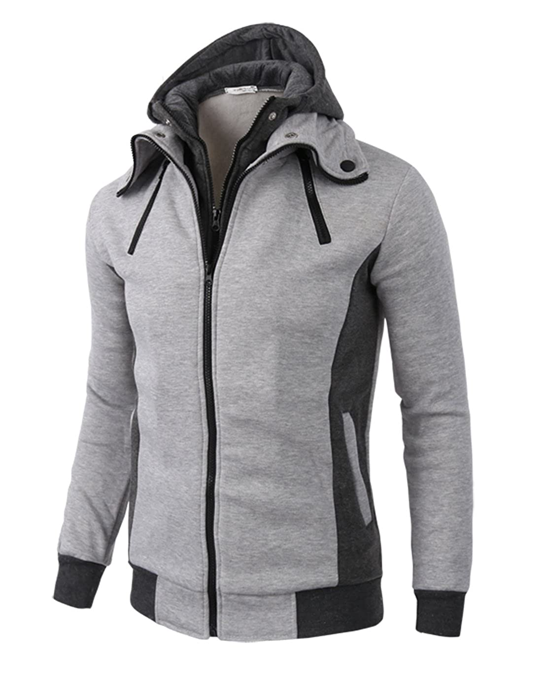 ce9e2ab12cce LOCALMODE Men s Double Zipper Hooded Jacket Turtleneck Fleece Hoodie Coat  at Amazon Men s Clothing store