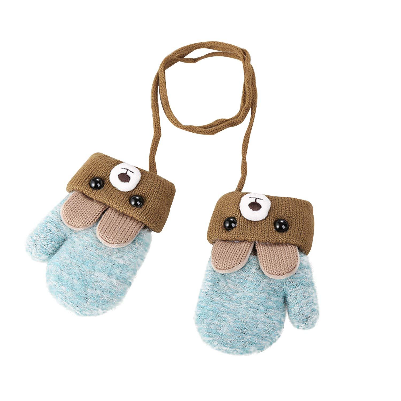 Toddlers Kids Warm Winter Full Finger Mittens Baby Fleece Lined Snow Ski Gloves