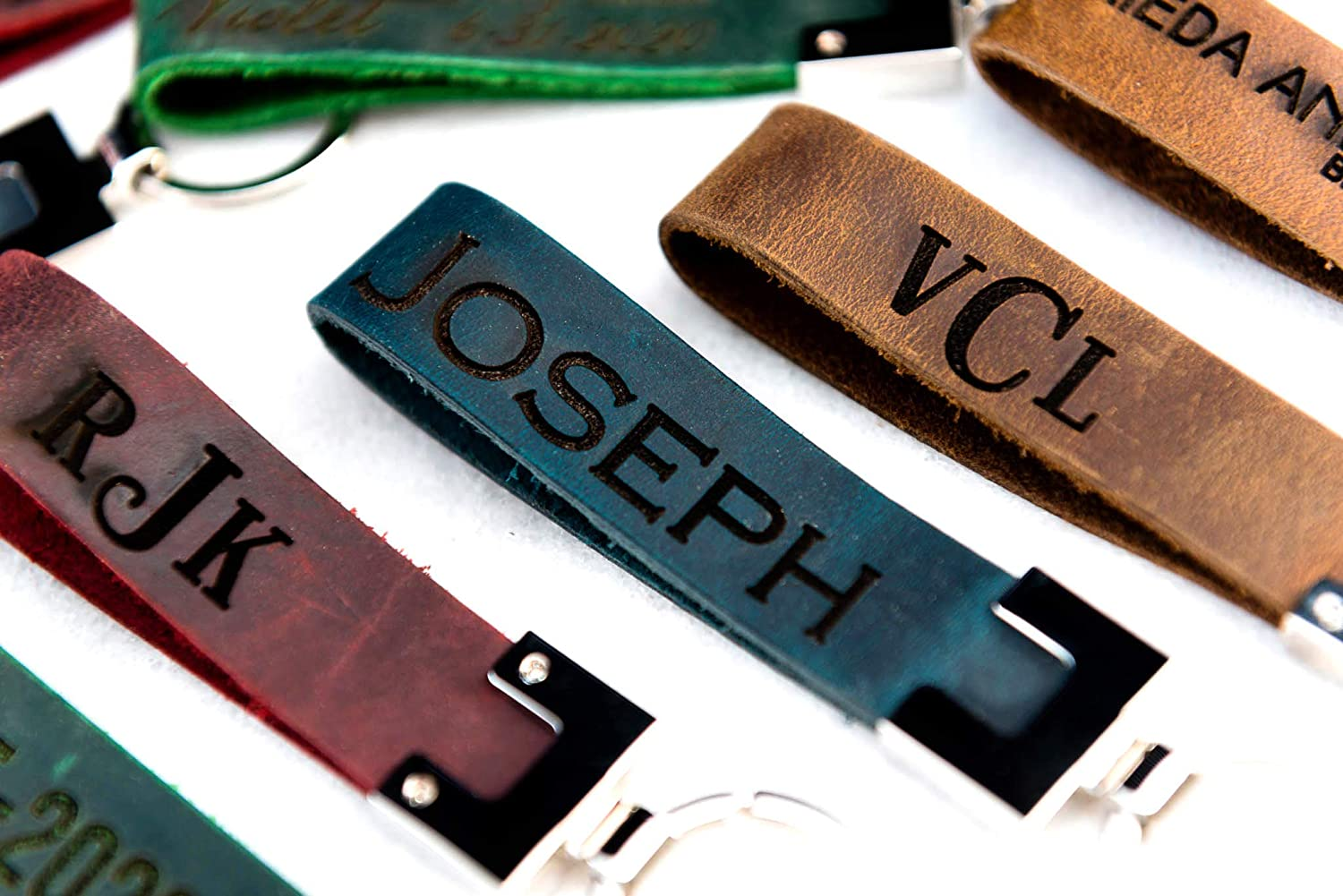 The San Blas Saddle Brown Personalized Distressed Engrave Leather Keychain