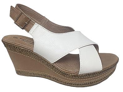 6c0d1462b0147 Cushion Walk Ladies White Comfort Slingback Wedge Sandal