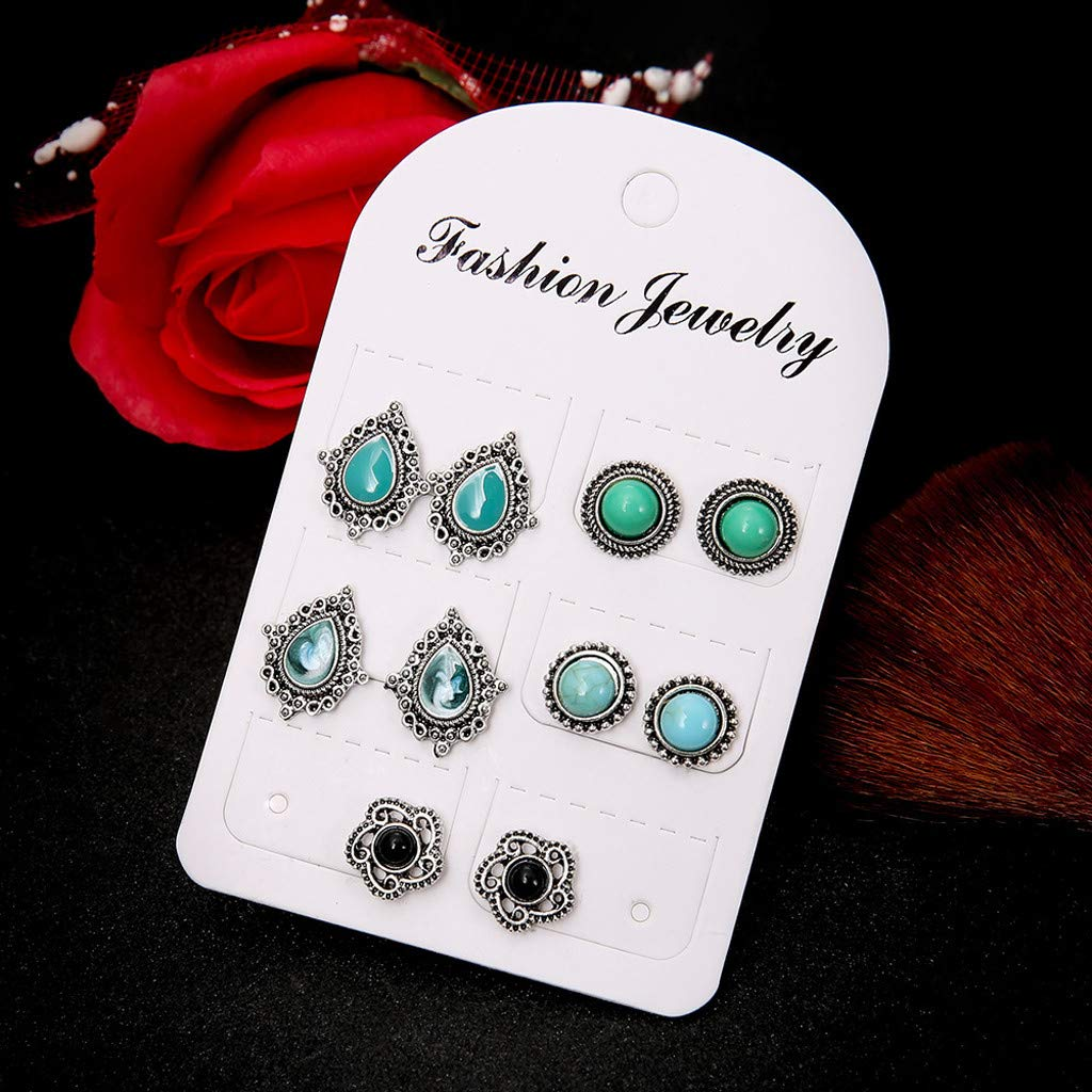 Natural Turquoise Gemstone Vintage Stud Earrings for Womens and Girls BSGSH 5 Pairs Bohemia Earrings