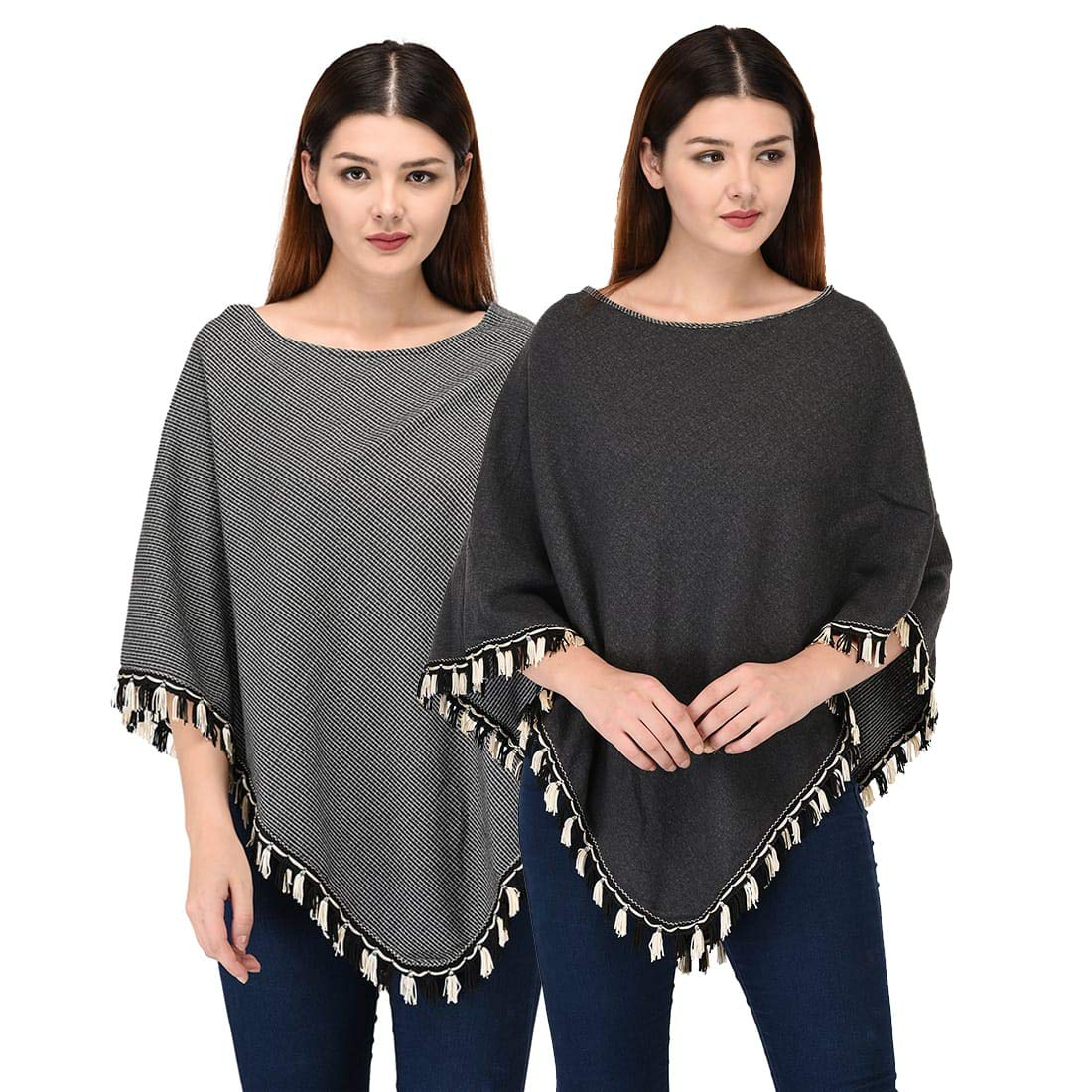 SKiDlers Women's Elegant Knitted Shawl Reversible Poncho with Fringed V-Neck Jacquard Sweater Pullover Cape Gifts for Women(Pack of 1)