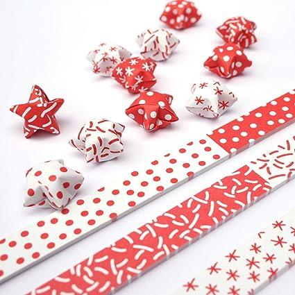 Papierstreifen Zum Sterne Basteln Origami Bastelset Für 75 Lucky Stars 6 Versch Muster In Pastell Schwarz Weiß Rot Weiß Rot Weiß