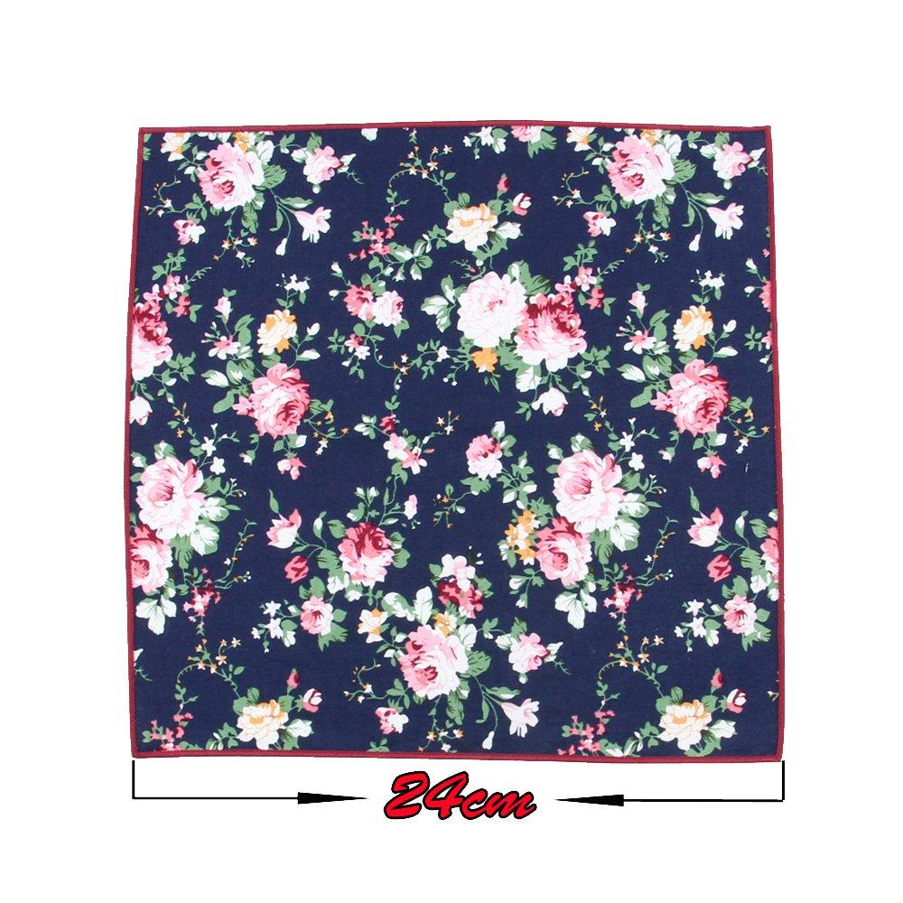 6 Pcs Men's Handkerchiefs Cotton Floral Pocket Squares for Men Ladies Hankies by MarJunSep (Image #4)