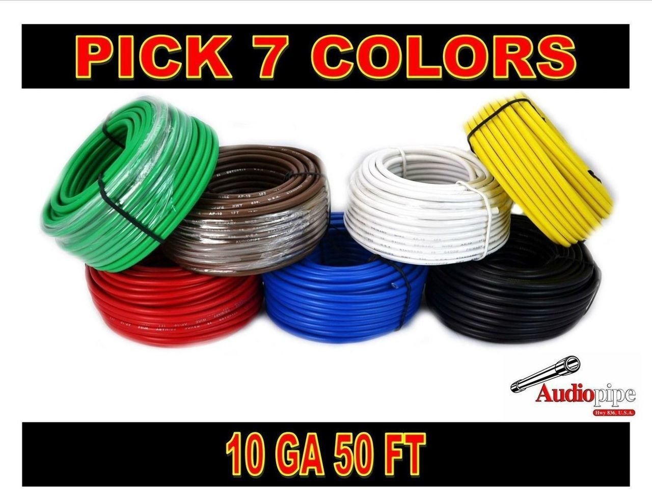 10 GA GAUGE 50 FT ROLLS PRIMARY AUTO REMOTE POWER GROUND WIRE CABLE (7 COLORS)