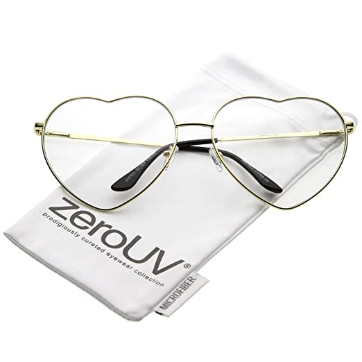 051daee549ea zeroUV - Oversize Metal Heart Shaped Clear Lens Eye Glasses 71mm (Gold/Clear )
