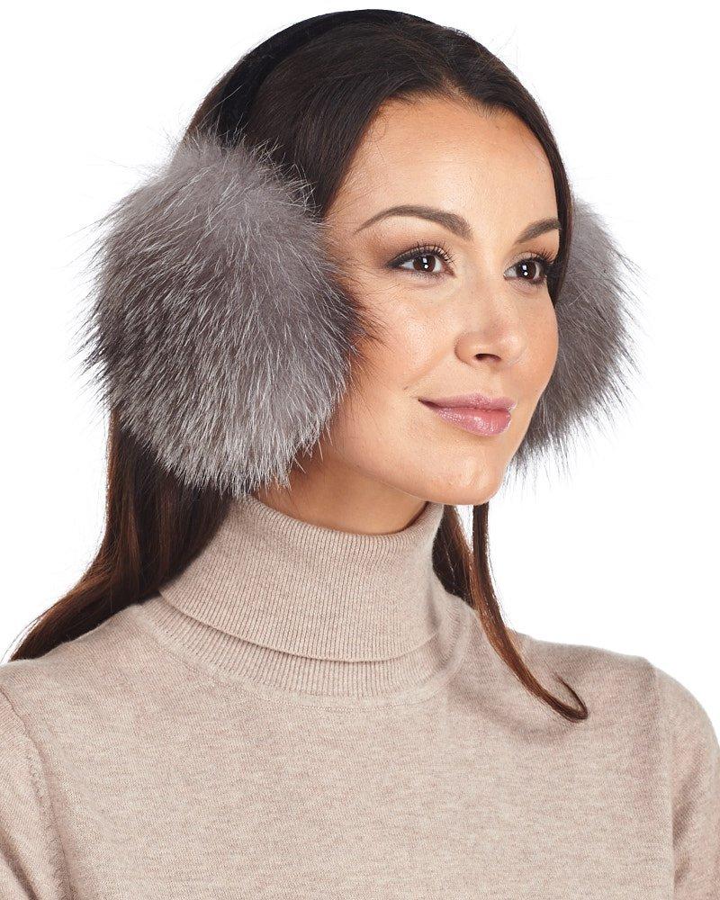 Fox Fur Earmuffs with Velvet Band in Indigo