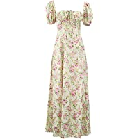 Generic Women's Sexy Floral Print High Split Maxi Dress with Bubble Sleeve, Girl Casual Spring Boho Dresses for Vacation…