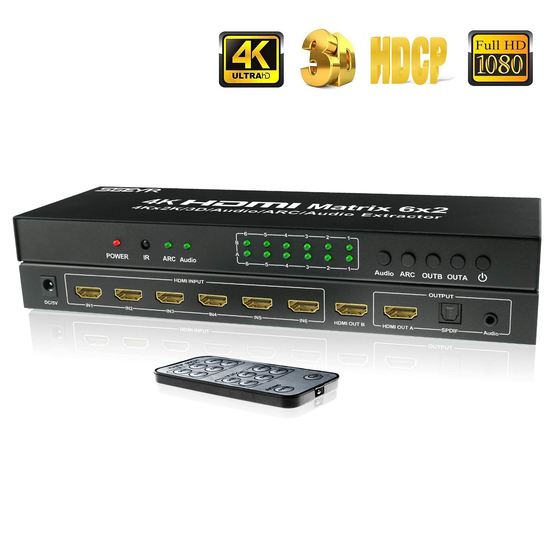 Hdmi Matrix 6x2, 4K Matrix Switch SPDIF Support 1.4v Switcher HDMI Switch Audio Extractor, ARC Function, SGEYR (HDMI MATRIX 6X2) SGEYR US 2018