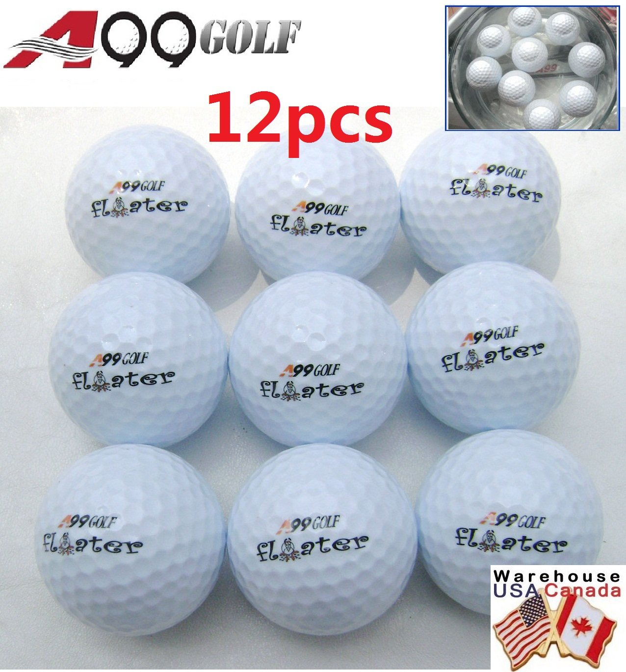 12pcs Golf floater balls floating Practice aid (with logo) by A99 Golf (Image #1)