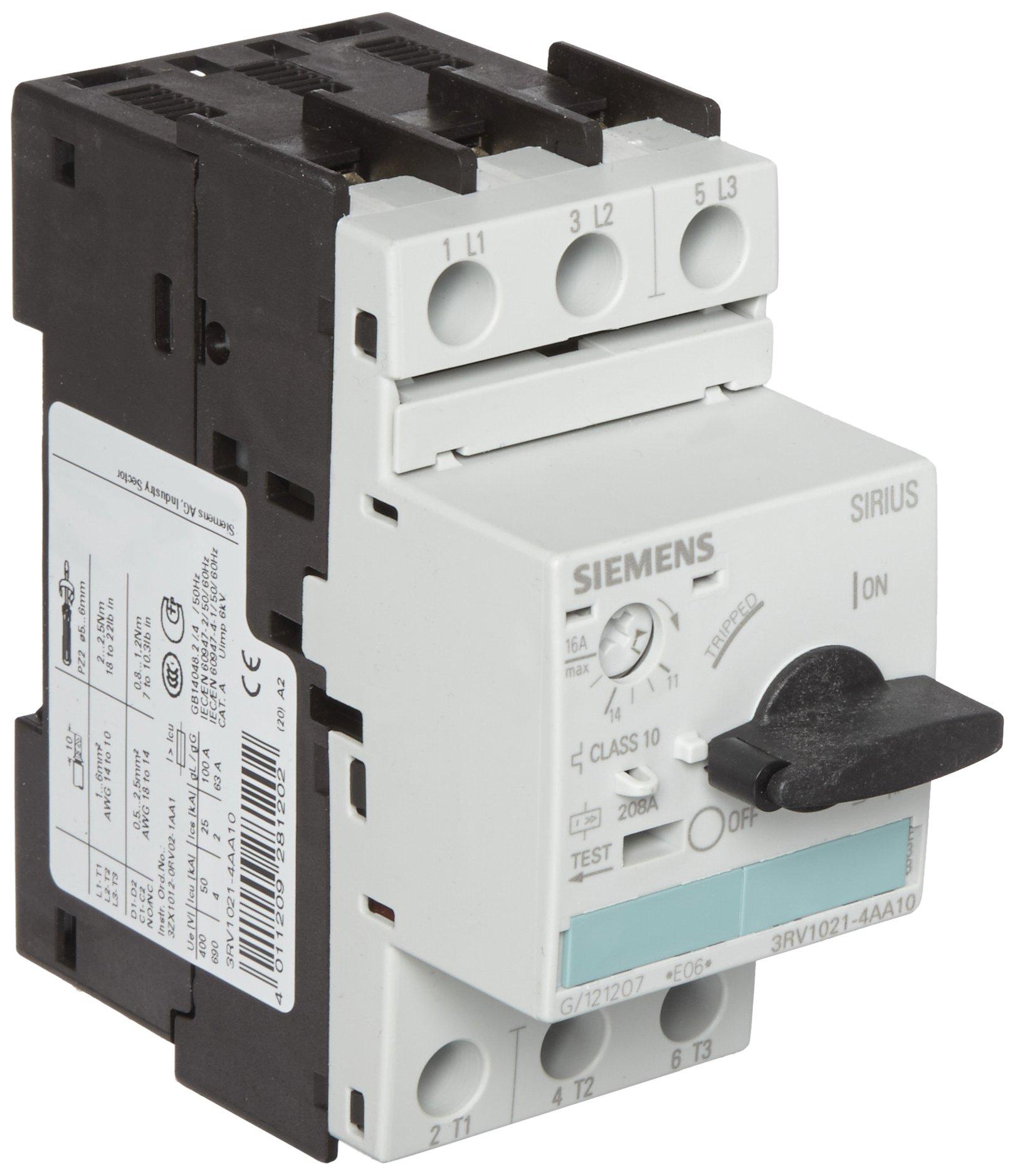 Siemens 3RV1021-4AA10 Motor Starter Protector, Screw Connection, 3RV102 Frame Size, 11-16 FLA Adjustment Range, 208A Instantaneous Short Circuit Release, 65kA UL Short Circuit Breaking Capacity at 480VAC