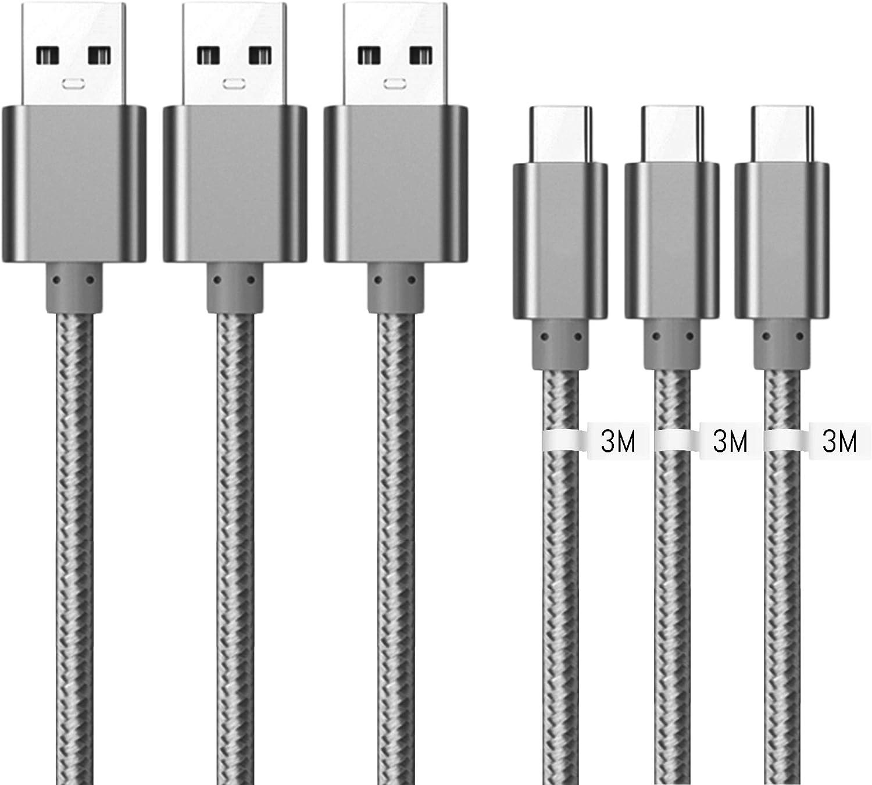 Gris Kit Me Out Cable USB Tipo C para Samsung Galaxy A51 3A Cargador USB Tipo C Nylon Trenzado Cable USB C Carga R/ápida y Sincronizaci/ón de Datos 2M 2 Pack