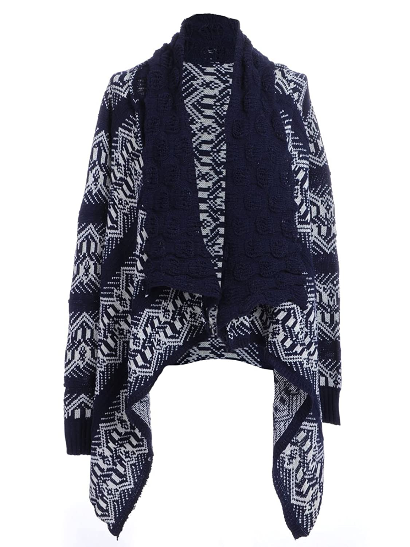 Anna-Kaci S/M Fit Blue Festive Theme Pointed Hem Shawl Collar Chunky Cardigan
