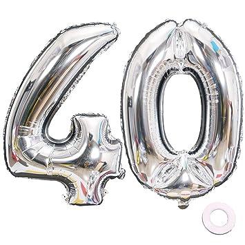 Jurxy Balloon Number 40 Silver Birthday Foil Balloon Helium ...