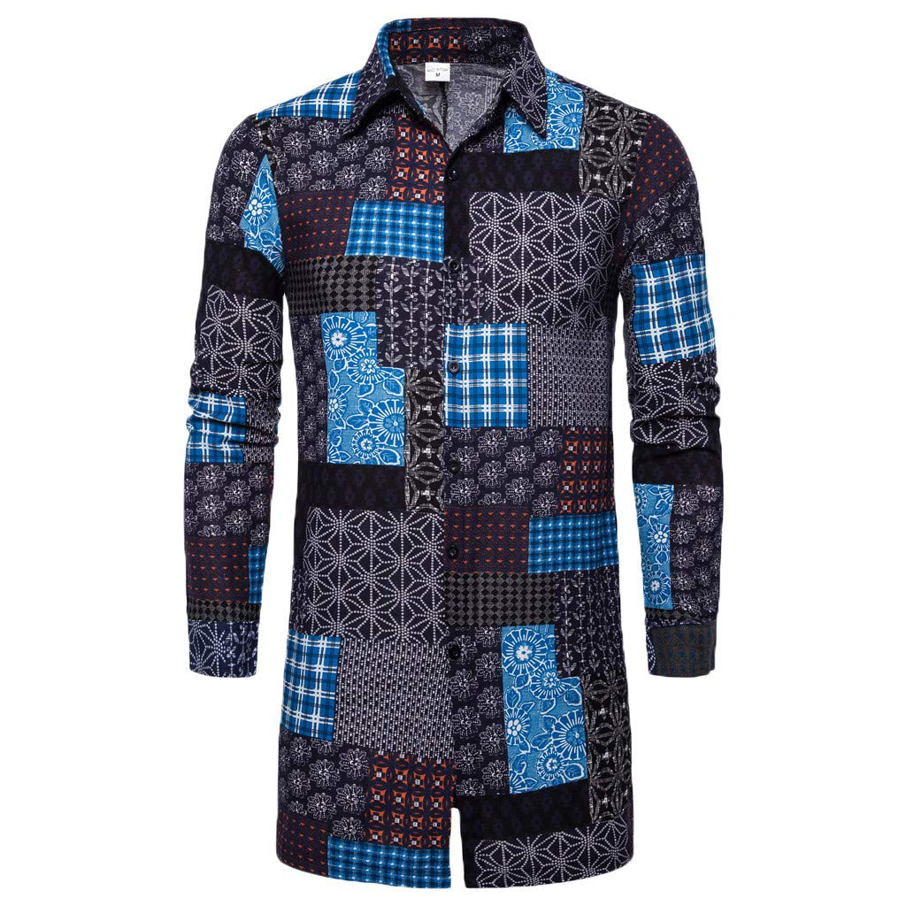 Men's Long Sleeve Loose Coat,Clearance!! Males Button Ethnic Shirt Autumn Turn-Down Collar Blouse Tunic Tops Outwear by cobcob men's Coat