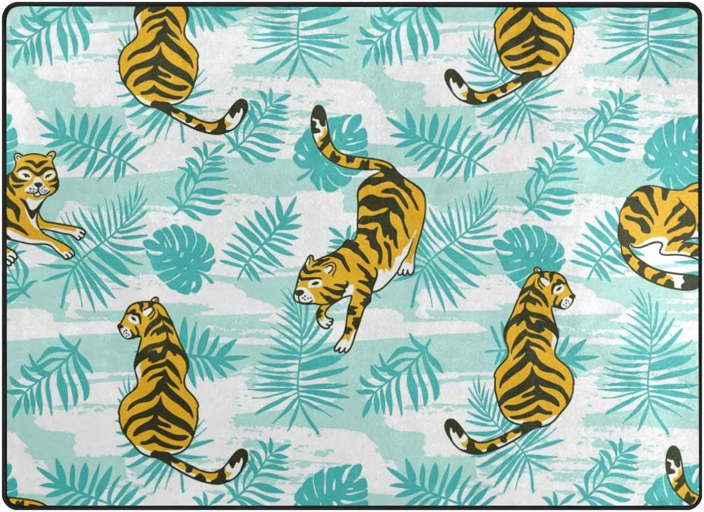 My Little Nest Area Rug Tropical Tigers Palm Leaves Lightweight Non-Slip Soft Mat 4 10 x 6 8 , Memory Sponge Indoor Outdoor Decor Carpet for Living Dining Room Bedroom Office Kitchen