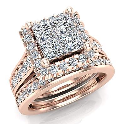 Amazon.com: Juego de anillos de boda de corte princesa con ...