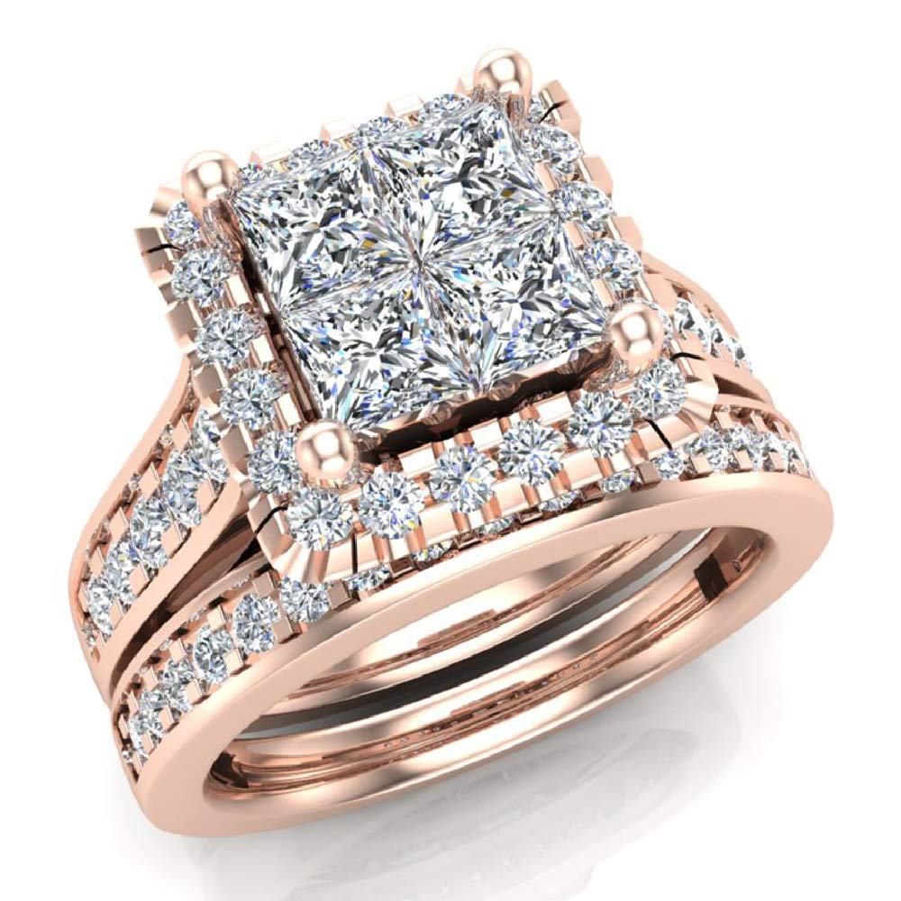 Princess Cut Quad Halo Wedding Ring Set 1.80 Carat Total Weight 14K Rose Gold (Ring Size 4.5)
