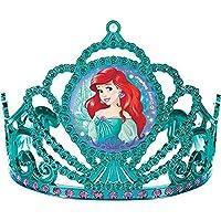 "Amscan Girls Enchanting Disney Ariel Dream Big Birthday Electroplated Tiara (Pack of 1), Multicolor, 3 1/""2 x 4 1/2"