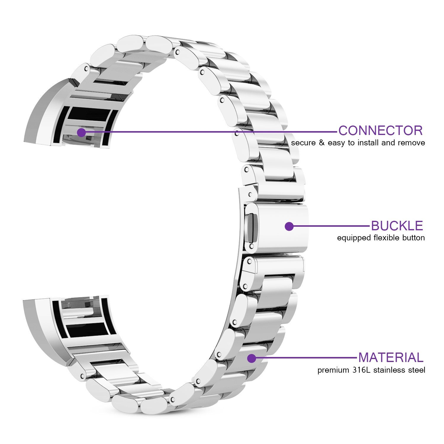 For fitbit charge 2 band, 316L Stainless Steel Replacement Accessory Bracelt Band.Small,Large Metal Bands for Fitbit Charge 2 band/Charge 2 Bands/Fitbit Charge 2 by WOCOOL (Image #3)