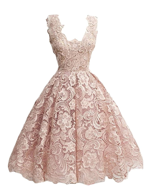 Pearl Pink Caissen Women's Knee Length Lace Appliques Satin Ball Gown Square Neck Zipper Cocktail Dress Party Wear Dance Gown
