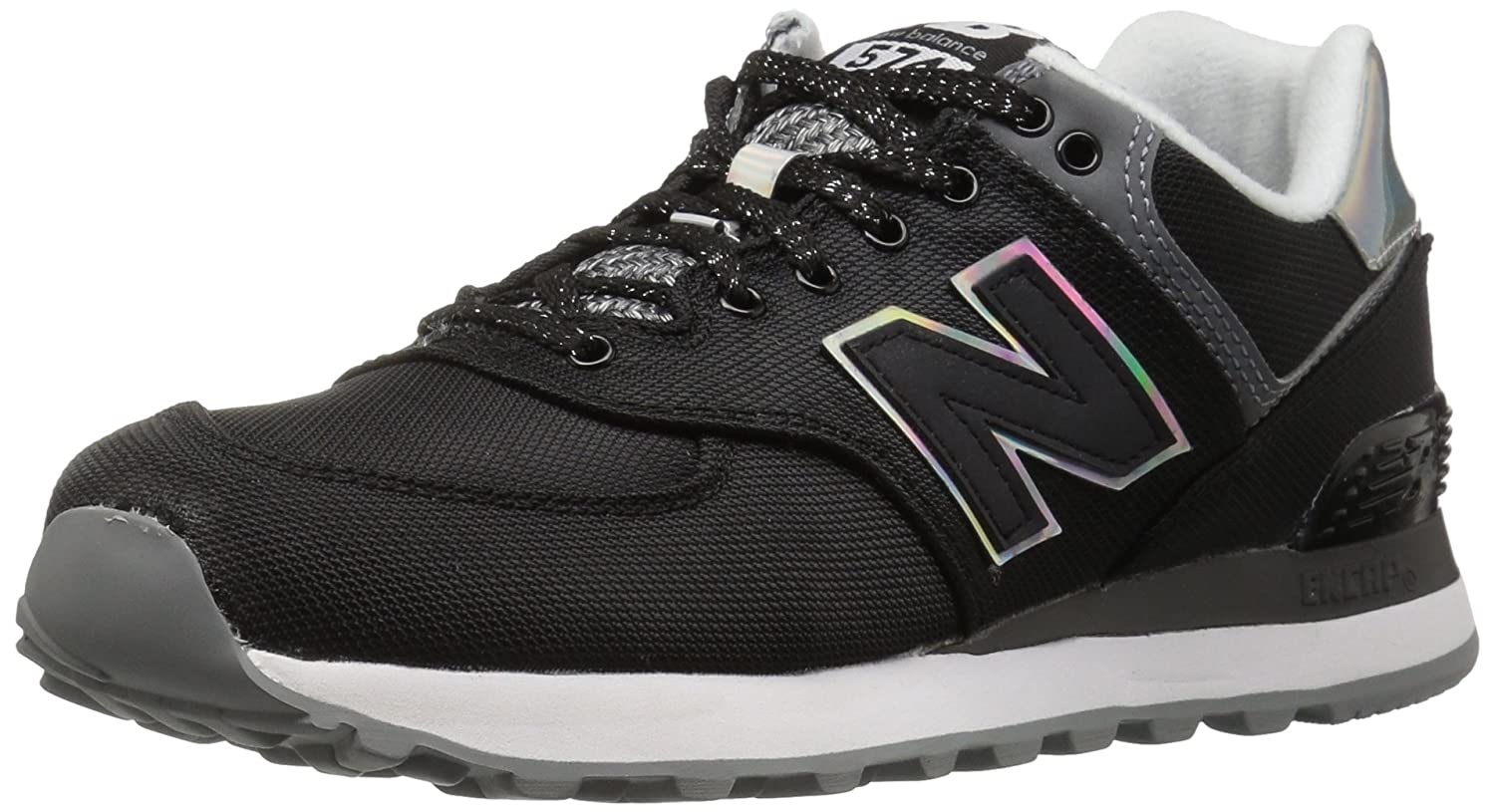 New Balance Women's WL574V1 Fashion Sneaker B01GRMFWHU 5 B(M) US|Black/Gunmetal