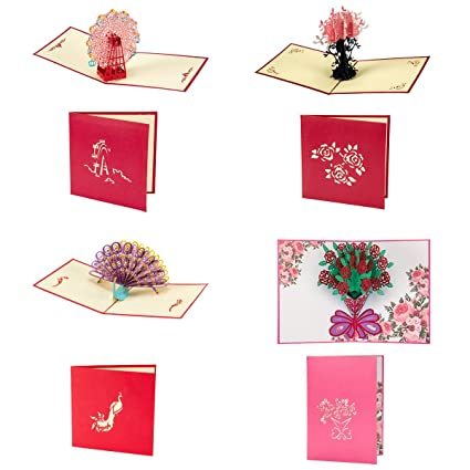 Amazon anphsin 4 pcs creative pop up cards handmade 3d cards anphsin 4 pcs creative pop up cards handmade 3d cards greeting cards thank you m4hsunfo