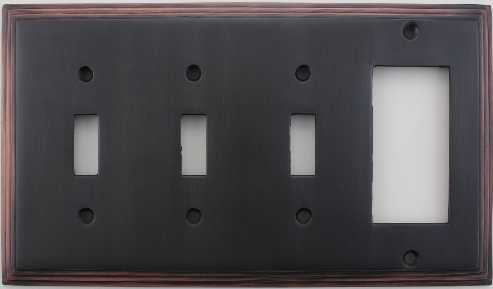 Oil Rubbed Bronze Deco Step Style Switch Plate - Three Toggle Light Switch Openings One GFI/Rocker Opening