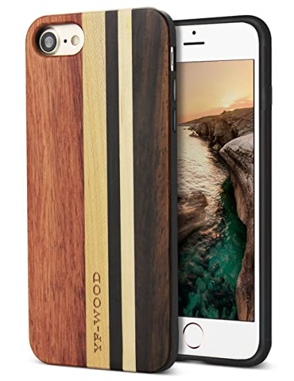 new style 7d3fc e40ff Compatible with Wood iPhone 8 Case, for iPhone 7 Case with Unique Natural  Real Wood Stripe Shockproof Drop Proof Slim Bumper Protective Cover for ...