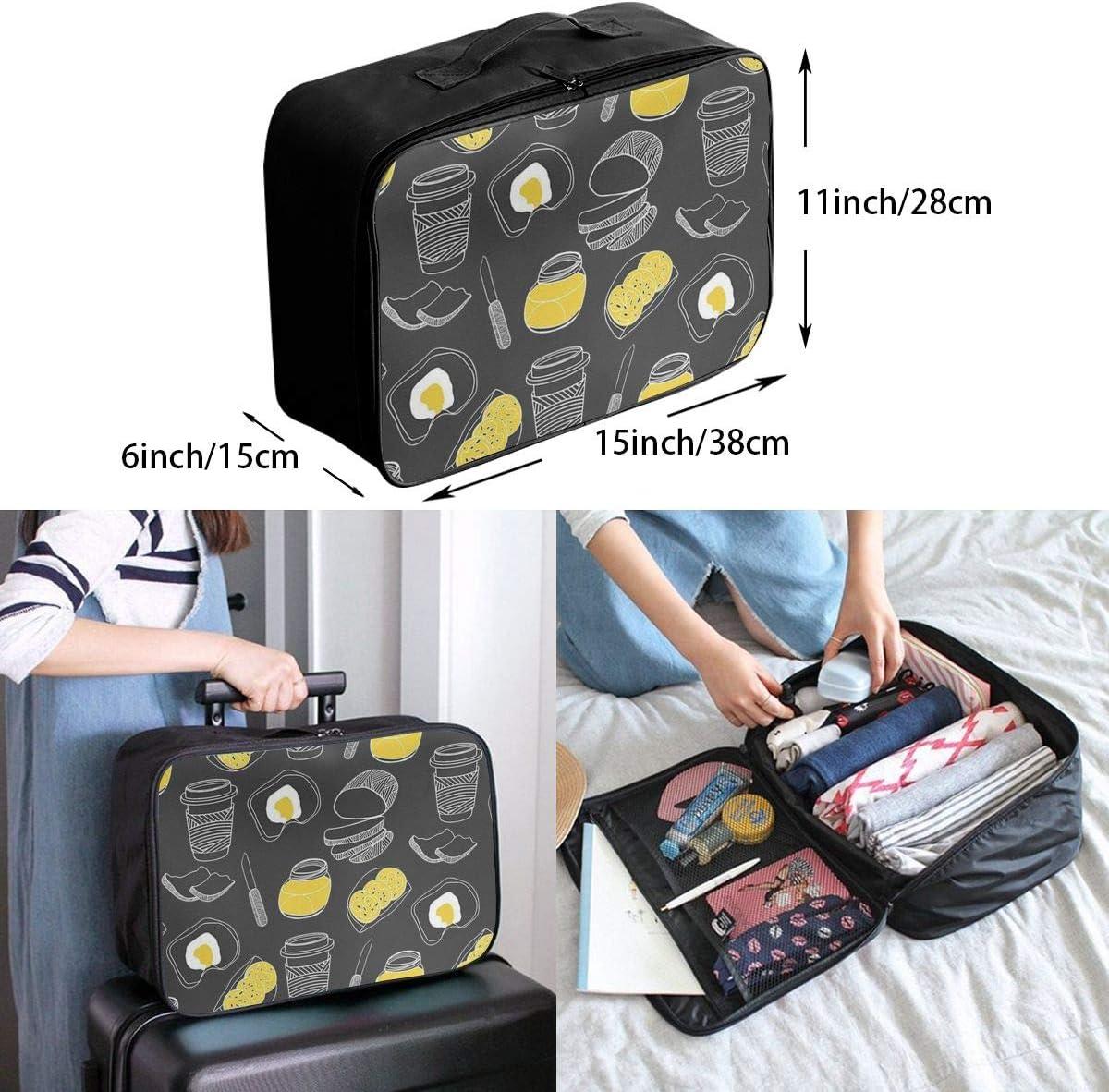 Breakfast Travel Carry-on Luggage Weekender Bag Overnight Tote Flight Duffel In Trolley Handle