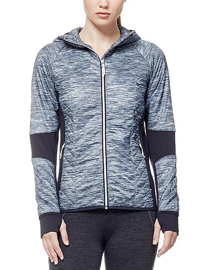 e0d14e1b4de Icebreaker Merino Women's Helix Long Sleeve Zip Fraser Peaks Hooded Jacket,  Grey Heather/Stealth
