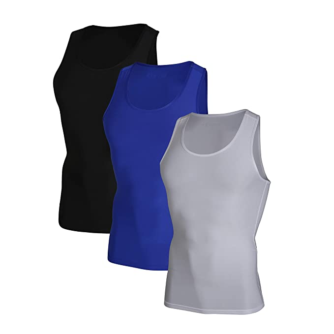 bfbd4f47d45b82 DEVOPS Men s 3 Pack Sleeveless Athletic Cool Dry Compression Muscle Tank Top  (Small