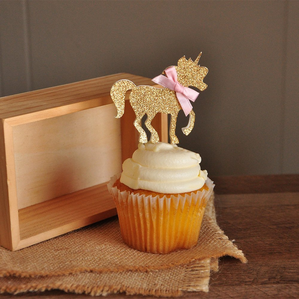 Unicorn Party Decorations. Pastel Party Decor. Pink and Gold Unicorn Cupcake Toppers 12CT.