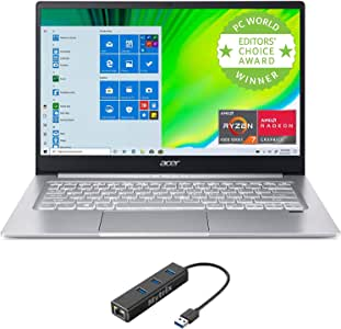 "2020 Acer Swift 3 SF314 Thin & Light Laptop, 14"" FHD IPS, AMD Ryzen 5 4500U Hexa-Core up to 4.0 GHz, 8GB LPDDR4, 512GB SSD, Backlit KB, FP Reader, WiFi 6, USB-C, Mytrix Ethernet Hub, Win 10"