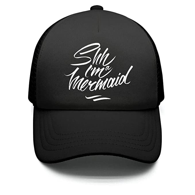 e8f6dbf8684 Hyduns Boys Girls Funny Shh I am a Mermaid Kids Trucker Hats Toddler  Baseball Mesh Cap