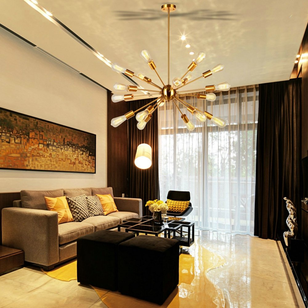 Com Sputnik Chandelier Brass 18 Light Mid Century Modern Pendant Lighting Industrial Vintage Ceiling Ul Listed By Vinluz Home Improvement