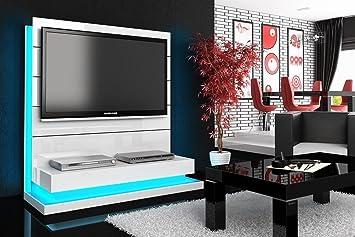 TV Wand HN-222 Weiß Hochglanz LED Beleuchtung TV Rack inkl. TV ...