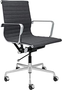 SOHO Ribbed Management Office Chair (Charcoal Fabric)