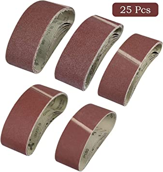 Bandas de lijado 25/unidades, 75/x 533/mm, grano 5/x 40//60//80//120//180/para lijadora de banda
