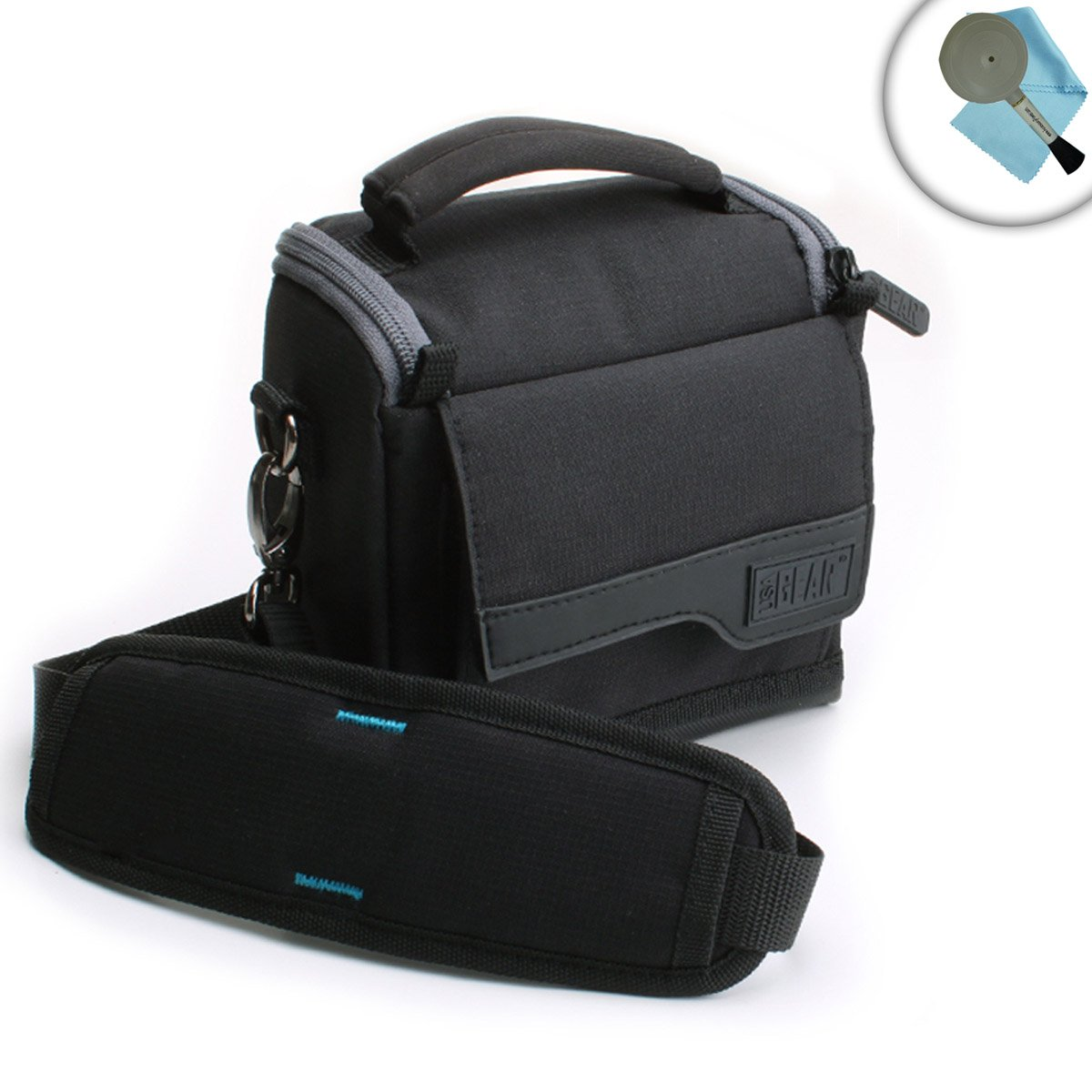 Sony HDRCX405 Handycam Camcorder Carrying Case with Durable Nylon Exterior and Detachable Shoulder Strap by USA GEAR - Accessory Pocket Holds Cables , Chargers , Memory Cards and More by USA Gear