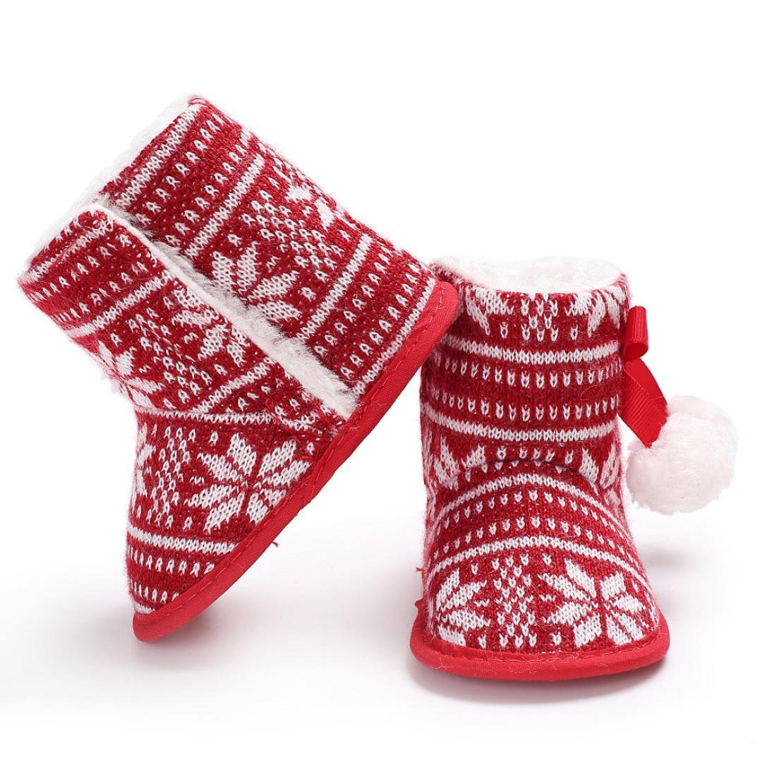 Voberry Christmas Toddler Santa Claus Snow Boots Baby Soft Sole Boots Shoes