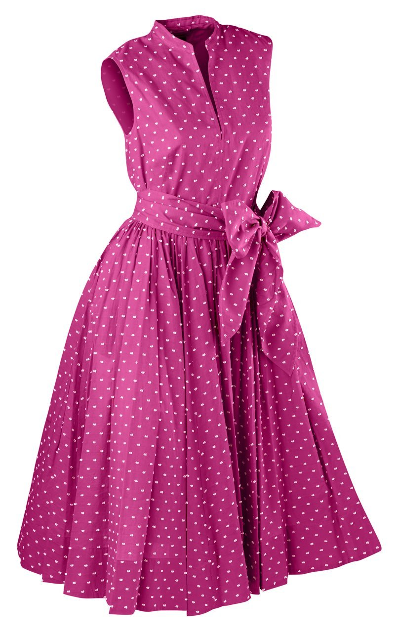 1950s Housewife Dress | 50s Day Dresses Georginas Sunset Polka Dot Dress $263.35 AT vintagedancer.com