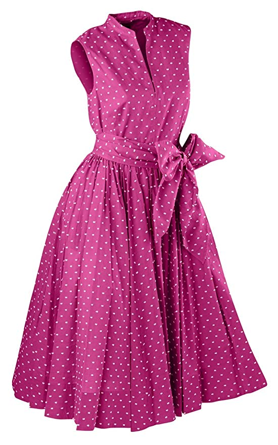 1950s Day Dresses Georginas Sunset Polka Dot Dress $263.35 AT vintagedancer.com