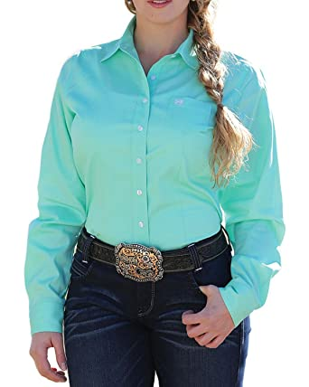 2cb2d393 Cinch Women's Solid Green Button Down Western Shirt at Amazon Women's  Clothing store: