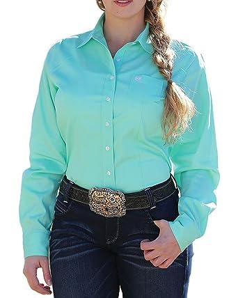 5b32ac66 Cinch Women's Solid Green Button Down Western Shirt at Amazon Women's  Clothing store: